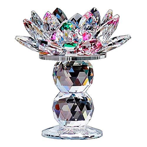 XQK Kristall Glas Lotus Flower Kerzenhalter, Teelicht Kerzenhalter Bunte Kandelaber Leuchtturm Halter, Top dekorative Geschenk, 4,5 Zoll