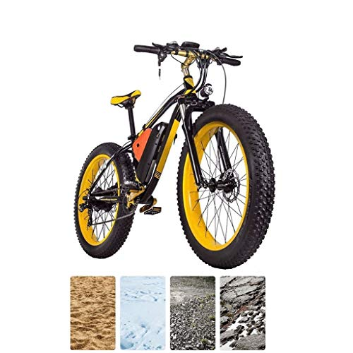 26 inch Electric Mountain Bike 4.0 Fat Tires eBike 1000W 48V 16Ah Lithium Battery Full Suspension Hydraulic Disc Brake 21-Speed Electric Bicycle for Adults (Color : Black Yellow)