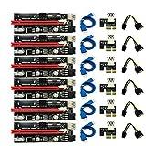 BSTKING 6個 最新の009 Usb 3.0 Pci-Eライザー 009S Expr 1 x 4 x 8X 16Xエクステンダーライザーアダプターカード Sata 15ピン - 6 ピン 電力ケーブル