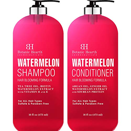 BOTANIC HEARTH Watermelon Shampoo and Conditioner Set - Promotes Hair Growth, Fights Hair Loss, Moisturizes, Sulfate & Paraben Free - for ALL Hair Types, for Men and Women - 16 fl oz each