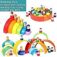 Lewo 12 Pezzi Giocattoli per Bambini in Legno per Ragazzi Ragazze Arcobaleno Bambole Legno Fingere di Giocare Figure di Persone per i più Piccoli Giocattoli Educativi di Apprendimento Prescolare #3