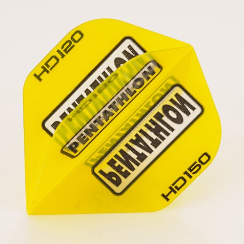 PerfectDarts 5 x Sets of Pentathlon gelb Super Tough HD150 Dart Flights, Standard