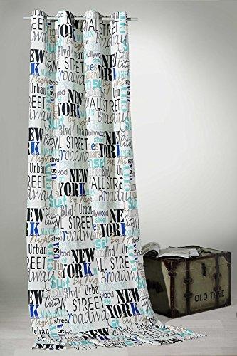 Heimtexland gordijn met ogen, Urban Chic New York City, in natuur, H x B 245 x 140 cm, decoratieve sjaal van zachte topkwaliteit voor een zeer mooie val, uitpakken, ophangen en klaar. Gordijn type 228