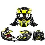 Yilingqi-1 Casco de la Cara de la Cara del Guerrero del depredador de la Cara Plena Voltear el Casco de la Personalidad Braida Harley Moto Casco,XL