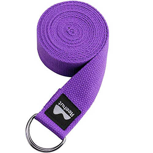 REEHUT Correa para Yoga - Cinturón con Hebilla Metal D-Anillos de Poliéster Algodón Resistente para Ejercicios de Estiramiento, Fitness, Pilates y Flexibilidad (Morado,3m,10ft)