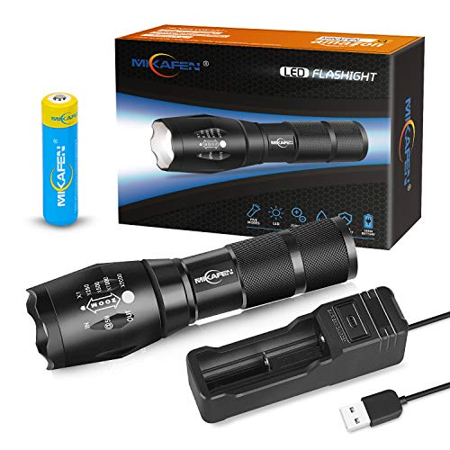 MIKAFEN Led Tactical Flashlight,High Lumen Flashlight with Rechargeable 18650 Lithium Ion...
