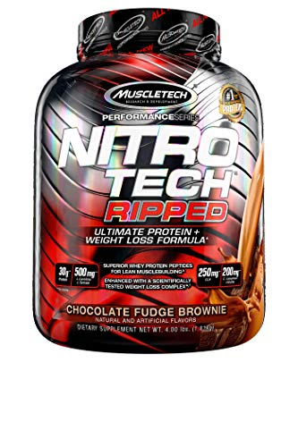 Protein Powder for Weight Loss | MuscleTech Nitro-Tech Ripped | Lean Whey Protein Powder + Weight Loss Formula | Lose Weight | Weight Loss Protein Powder for Women & Men | Chocolate, 4 lbs (42 Serv)