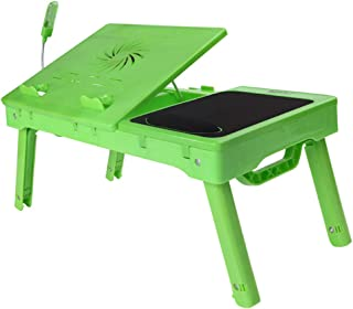 Portable Laptop Table,Multi-Functional Laptop Stand with LED Light,Laptop Desk Foldable with Internal Cooling Fan Height A...