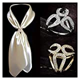 xiaofeng214 Broche de lujo para bufanda, broche de aro de boda, para mujer, con soporte de cristal, de seda, chal, hebilla, anillo, bufanda, regalo de joyería