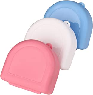 Euone Denture Case, Denture Bath Appliance False Teeth Box Storage Case Rinsing Basket