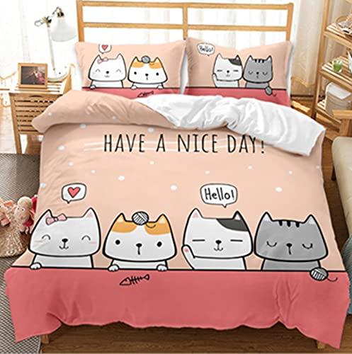 LIANHUAA Juego de ropa de cama con dibujos animados de gatos, 3D, funda nórdica de microfibra, para niños, niñas, dormitorio, 200 x 200 cm (A,260 x 220 cm)
