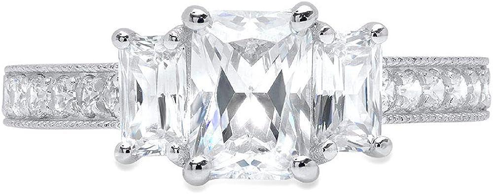 1.92ct Brilliant Emerald Round Cut Solitaire 3-Stone Statement Ring 14k White Gold