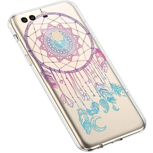Uposao Huawei P9 Plus Coque Silicone Transparente Motif Mandala Fleur Coloré Jolie Beau Housse de téléphone Semi Hybrid Crystal Case Antichoc Coque Housse Étui pour Huawei P9 Plus,#4