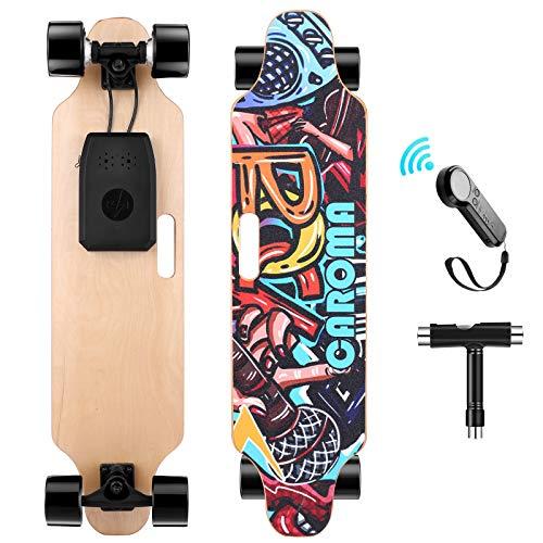 Caroma Skateboard Elettrico con Telecomando, Doppio Motore da 700 W, velocità Max 20 KMH, Elettrico Longboard con carico massimo di 300 libbre per adulti, adolescenti