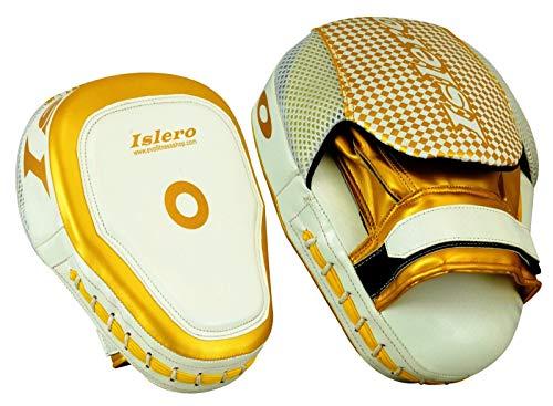 ISLERO Kick Boxing MMA Focus Pads Muay Thai Martial Arts Training Pad UFC Bags (White/Golden)