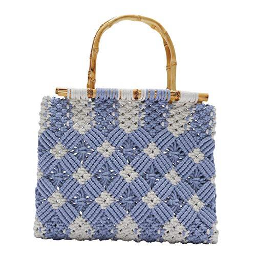Generic Bolso grande de punto para mujer, bolso de mano tejido a mano bolso de mano Retro verano Vocation Beach Bolsos Bolso bandolera - Azul