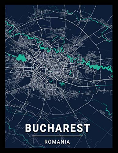 Bucharest Romania: city map; dot grid notebook with map on the cover, gift for travel lovers, souvenir