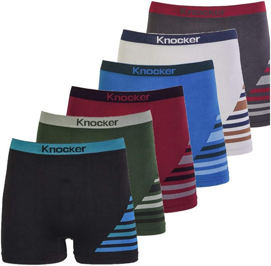 Knocker Men's Seamless Nylon Boxer Brief Underwear 6-Pack One Size Assorted Color