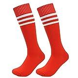 CAOLATOR Calcetines Raya Color Sólido Calcetín Largo Mediano para Baile Animadoras Fútbol Movimiento Moda Calcetines de Hombre con Mujer-Rojo