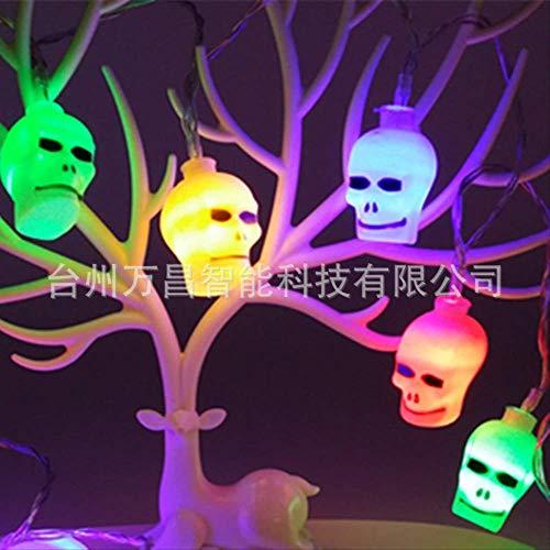 CFLFDC Lichtsnoer, Halloween, werkt op batterijen, voor Halloween, 20 lampen met doodskop-accu, string Easter, decoratie, verlichting, wit