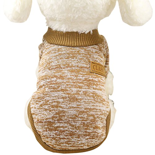 Jecikelon Pet Dog Clothes Knitwear Dog Sweater Soft Thickening Warm Pup Dogs Shirt Winter Puppy Sweater for Dogs (Khaki, M)