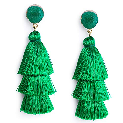 Green Thread Tassel Earrings for Women Dangle Drop Statement Tiered Tassel Kelly Green Earrings Bohemian Saint Patrick Irish Festival Jewelry