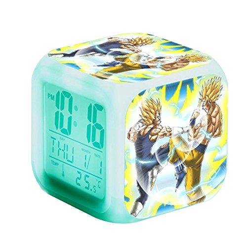 Ailin Online - Reloj despertador con 7 luces LED digitales iluminadas con hora, alarma, fecha, día de la semana, funciona con pilas (estilo 02)