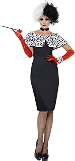 6 PC Cruel Dalmatian Villain Lady Black Midi Dress w/Accessories Party Costume