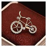 Zxebhsm Broche 1 unids Elegancia Oro Bicicleta Forma Hombres Mujeres Unisex Twinkle Broche Pins Regalo