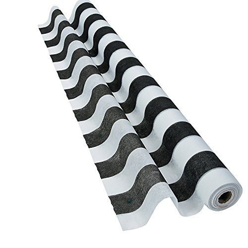Striped Black & White Gossamer Roll 100 FT X 3 FT Wedding Aisle Decoration Table Cover NEW
