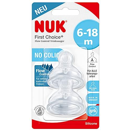 NUK First Choice+ Flow Control Trinksauger für Babyflaschen | 6–18Monate |Anti-Colic-Ventil | BPA-frei | 2Stück