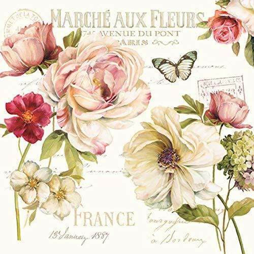Easy Life 414FLEU - Servilletas de papel (33 x 33 cm), diseño de flores, multicolor