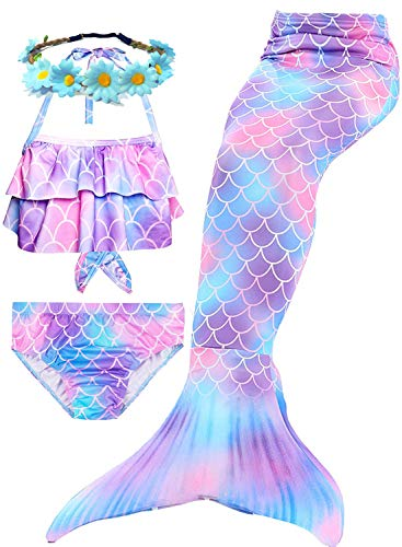 4 Pcs Girls Swimsuits Mermaid for Swimming Halter Ruffled Tankini Top with Bottom Mermaid Cosplay Theme Party Favor