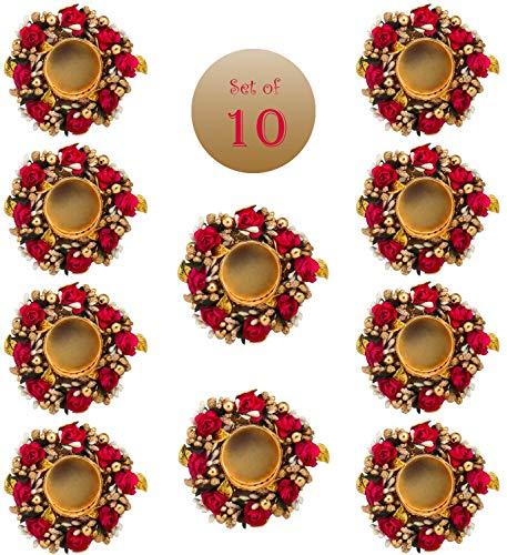 Sanvatsar Home Deko Diya Set von 10 | Firmengeschenk, Diwali Geschenk, Diya, Deepak, Kerzen, Neujahrsgeschenk, Heimdekoration Licht Diya Set von 10 (rote Farbe)
