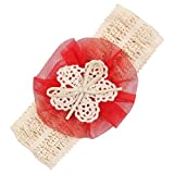 Headbands Hairband for Baby Newborn Girls,BCDshop Flower Crochet Headwrap Head Hair Accessories for 0 Months to 5 Years Old Girl (Red)