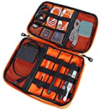 LoaferUp Travel Organizer Electronics Cord Organizer Case, Cable Management Case, Universal Double Layer Travel Bag, Portable Cable Accessories Organizer with Carrying Strap, Grey/Orange