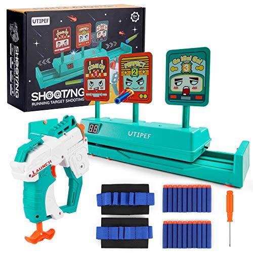 utipef Nerf Gun Targets for 6 7 8 9 10 Boys & Girls with Blaster Gun, Running Shooting Targets with Movable Targets for Nerf Guns, Nerf Target Practice Set with Auto Reset Targets & Toy Gun