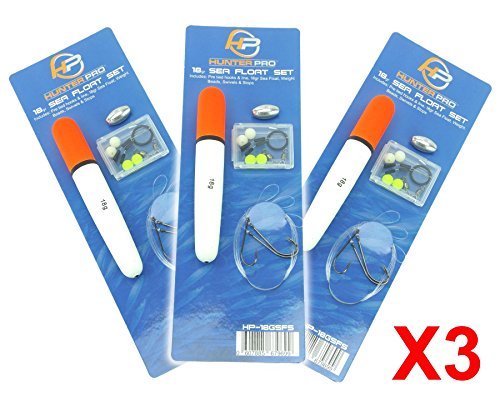 Hunter Pro Sea Float Set x 3 Including Floats, weights, Hooks to line, Stops, Swivels & Beads