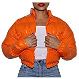Changeshopping Winter Short Bubble Jacket, Fashion Plain Color Down Coat with Pockets, Long Sleeves Zipping Outwear
