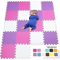 qqpp Alfombra Puzzle para Niños Bebe Infantil - Suelo de Goma EVA Suave. 18 Piezas (30*30*1cm), Blanco, Rosa, Morado.QQC-ACKb18N