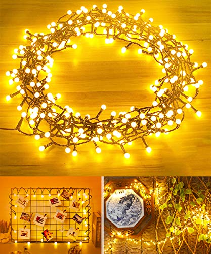 Qinner Waterproof Outdoor Globe String Lights Plug in Mains Power, 15 M/250 LED Garden Fairy String Light with Remote Control, 8 Modes for Garden Patio Fence Bedroom Wedding Party-Warm White