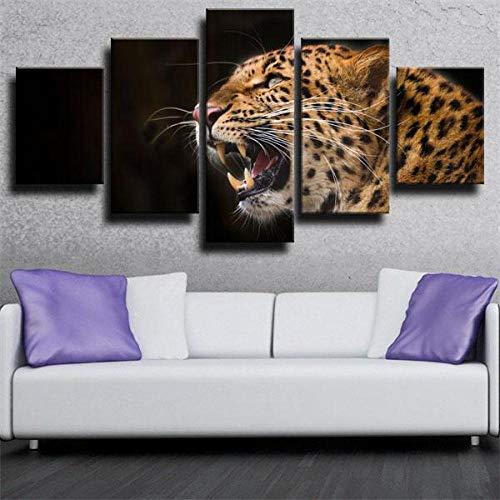 BDFDF Cuadro sobre Lienzo 5 Piezas - Cuadros En Lienzo Modernos Leopardo Depredador 5 Piezas Lienzo De Tejido No Tejido Decoración De Pared Cuadros Decoración Dormitorios