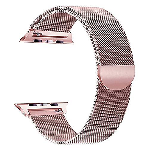 Adecuado para relojes Apple Watch series 1/2/3/4/5/6 generación para hombres y mujeres, correa de pulsera de repuesto de acero inoxidable compatible con 38 / 40mm42 / 44mm