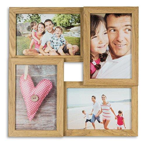 levandeo Bilderrahmen Collage B x H: 28x28cm 4 Fotos 10x15 Eiche MDF Holz fertig montiert Glas