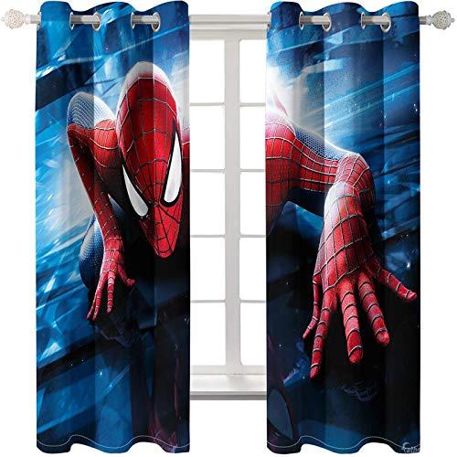 Timcome Spiderman 3D Verdunkelungsvorhang, Blickdichte Vorhänge Gardinen mit Ösen, Geräuschreduzierung Kälte und Wärmeisolierun, Kinderzimmer/Wohnzimmer Verdunkelungsvorhang 2 x 110(W) x 215(H) cm