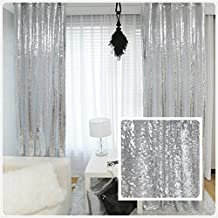 TRLYC New Year Sequin Silver Curtains, Select You Size, 4FT8FT Sparkly Silver Sequin Fabric Photography Backdrop, Best Wedding/Home/Party Fashion Decoration