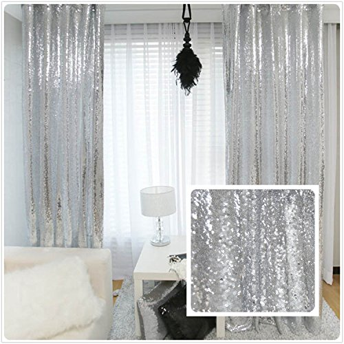 TRLYC New Year Sequin Silver Curtain, Select You Size, 6FT6FT Sparkly Silver Sequin Fabric Photography Backdrop, Best Wedding/Home/Party Fashion Decoration