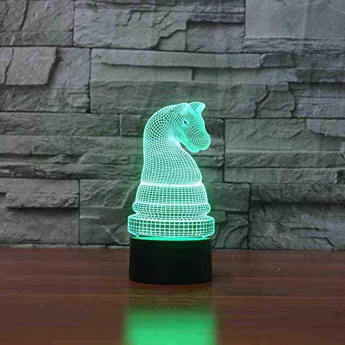 3D schaakvorm tafellamp 7 kleuren veranderende nachtlampje paard schaak LED lamp geschenk bedlampje slaapkamer decoratie