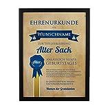 Herz & Heim® Wandbild Ehrenurkunde Alter Sack zum Geburtstag mit Namensdruck
