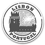 Impresionantes pegatinas de vinilo (juego de 2) 15 cm (bw) – Lisboa Portugal Travel Architecture Fun Decals para portátiles, tabletas, equipaje, libros de chatarra, frigorífico, regalo genial #39851